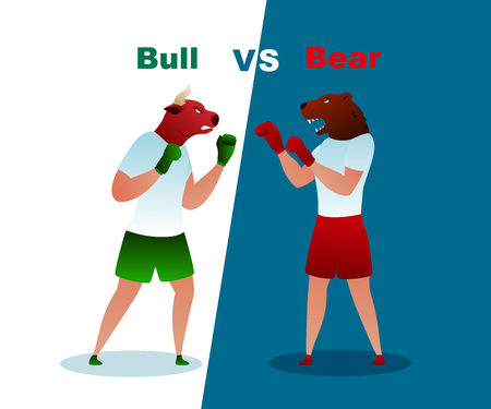 Trade Bear and Bull Boxing Gloves Vector Market. Business Trading Finance Investment. Commercial Invest Bank Loss Planning Sell Capital. Bearish Investment Winner Trend Flat Illustration 일러스트