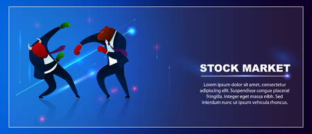 Character Trader Bear Win Bull Invest Stock Market. Business Management Trading in Time Crisis. Economic Currency Exchange. Optimism Growth Investment Concepts Flat Vector Illustration