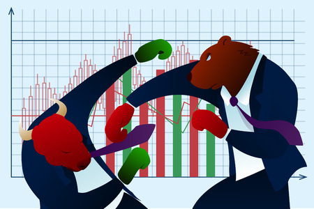 Character Bear Punch Fear Bull Trading Report. Conservative Investor Planning Winner in Stock Market. Finance Diagram Growth. Doubts Economic Strategy Collapse Flat Vector Illustration