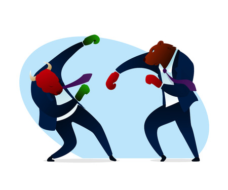Trader Bear Bump Bull Boxing Gloves Strict Suit. Office Manager Angry Fighting. Commerce Computer Software for Trading. Corporate Conflict Worker Knock Boss Flat Vector Illustration
