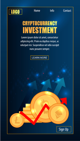 Cryptocurrency Trading Digital Success Profit. Litecoin Electronic Smart Invest Contract. Internet Payment Technology Concept Blockchain Wallet Landing Page Flat Vector Illustration Çizim