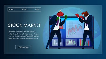 Trade Fighting between Bear and Bull Stock Market. Bullish Investment Trend. Trader Battle Attack. People Investor Sell Value. Commerce Bank Planning Economy Cartoon Vector Illustration