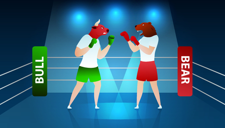 Trade Fighting between Bear and Bull Boxing Ring. Volatile Trading Finance Diagram. Commerce Bank Planning Economy. Bullish Investment Winner Trend Flat Cartoon Vector Illustration