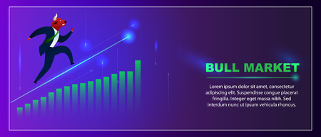 Banner Trader Bull Market sur l'analyse du diagramme graphique. Techno Index Tendance Forex Trade Invest. Processus Augmenter le volume de réussite. Illustration vectorielle plane d'argent de change de devises