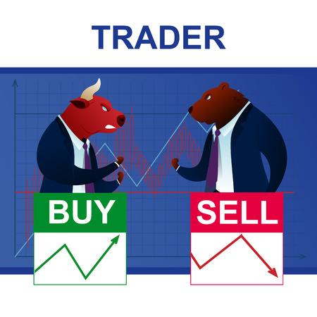 Analyse de commerçant de conflit de caractères Bull et Bear. Rapport économique mondial. Cours de Monnaie Dollar Diagramme Graphique. Les gens risquent la stratégie d'entreprise Commerce Future Cartoon Vector Illustration