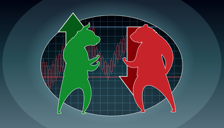 Trader Green Bull Business Opposition Red Bear. Global Economic Risk Report. Graph Diagram Dollar Currency Course. People Trading Fintech Pessimistic Analysis Cartoon Vector Illustration