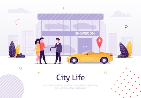 Man Selling Car to Couple of Young People Banner Vector Illustration. Man and Woman Buying New Cabriolet with Showroom on Background. Store of Vehicles. Character Giving Key to Boy. Standard-Bild - 121800125