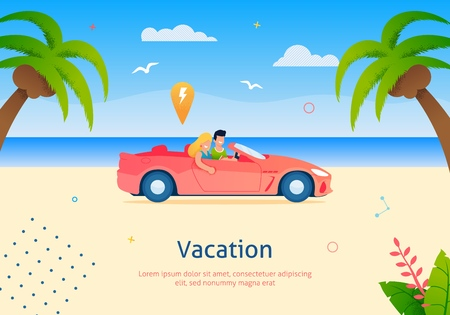Couple Going on Vacation on Cabriolet Vehicle Banner Vector Illustration. Happy Cartoon Man and Woman Driving Car along Beach near Sea and Palm Trees with Coconuts. Rest and Relax.