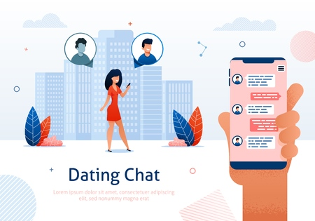 Internet Dating Chat, Online Flirt and Virtual Relationships Using Social Networking Sites Banner. Mobile Service, Application Vector Illustration. Woman Chatting in Smartphone Screen.