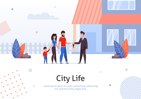 Man Selling or Renting House to Couple of Young People with Child Banner Vector Illustration. Man and Woman Buying Home. Manager Giving Key to Family. Mother, Father and Son Moving toNew Place. Ilustração