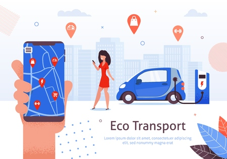 Woman Hand Holding Mobile Phone Searching Places while Car is Charching at E-StationBanner Vector Illustration. Eco Transport. Map with Different Locationa such as Shop, Gym, Cinema. Ilustração