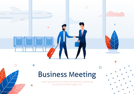 Two Business Men Shaking Hands Banner. Partners Meeting Concept Vector Illustration. Businesspeople Having Successful Agreement Or Deal at Airport. Characters with Suitcase and Luggage. Ilustração