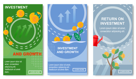 Investment and Growth Set of Templates for Social Media Vector Illustration. Economic or Market, Return on Investment. Watering Money Tree with Growing Coins. Online Banking. Getting Income.