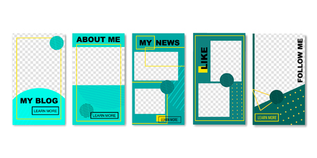 Set of Social Media Templates for Photos Vector Illustration. Blog concept with such Sections as About Me, My News, Like, Follow Me. Geometric Shapes and Forms with Dots and Lines. Иллюстрация