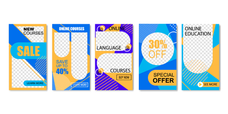 Online Language Courses Set of Landing Page Templates Vector Illustration. Distance Education, Training. Learning Interface and Teaching Concept. Special Offer with Sales and Discounts. Illustration