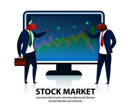 Trader Character Stock Market Process Conversation. Bullish Investment Trend. Trading Finance Attack. Investor Sell Business. Commerce Bank Planning Economy Flat Vector Illustration
