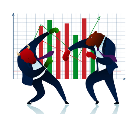 Character Trader Bear Beats Bull Commerce Report. People Planning Winner in Stock Market. Finance Diagram Growth. Strategy Attack Conflict Economic Manager Fight Flat Vector Illustration