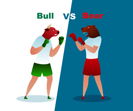 Trade Bear and Bull Boxing Gloves Vector Market. Business Trading Finance Investment. Commercial Invest Bank Loss Planning Sell Capital. Bearish Investment Winner Trend Flat Illustration Ilustração