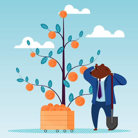 Bear Dig Shovel Dollar Tree Dollar Investment. Global Finance Innovation Technology. People Invest Money on Stock Market. Risk Strategy Rate Business Progress Flat Vector Illustration Zdjęcie Seryjne - 122863818