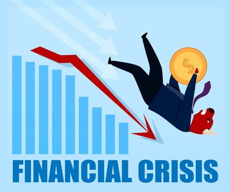 Financial Crisis Knocked Out Character Bull Trader. People Trade Dollar on Stock Market. Businessman Speculator on Forex Graph. Strategy Invest Balance. Cartoon Vector Illustration