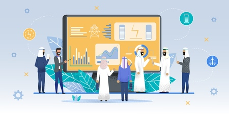International Expo Stand Exhibition for Arabs Man. Caucasian Businessman Presents New Product. Arabian People Looking at Promotion Stands, Discussing Promotion, Talking to Speaker. Vector Illustration