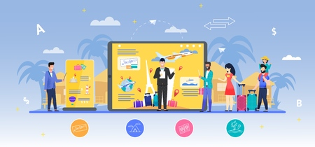 Vacation Expo with Guides and Visitors Flat Vector Illustration. Digital Exhibition Stands, Consultants Offering Best Tours and Itineraries. Family and Single Man Examining Desk Advertising