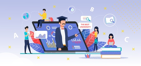 Application for Online Searching Best University. Laptop with Comparative Graphs, Charts to Do Best Choice for Higher Education. Online Consultant Helps Girl to Make Decision. Vector Flat Illustration Vectores