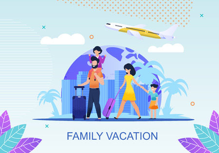 Family Vacation Advertisement Flat Banner. Mother, Father and Daughters with Luggage. City Landscape, Plane Taking off over Cartoon Earth. Recreation and Trip on Holiday. Vector Travel Illustration