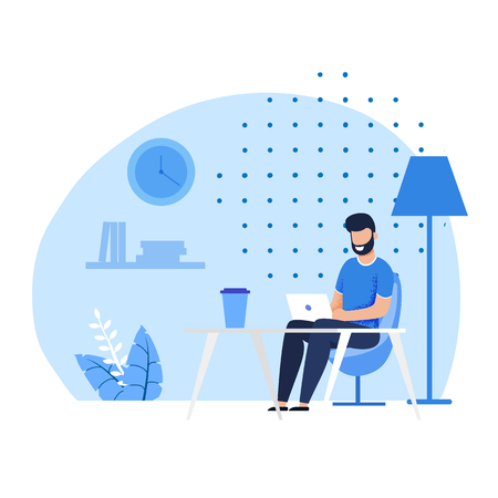 Smiling Bearded Caucasian Man Character Having Coffee Beak at Comfortable Coworking Office. Flat Freelancer Watching Funny Video, Chatting Social Media, Typing Message on Laptop. Vector Illustration