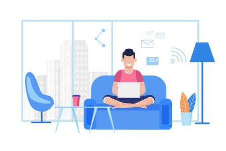 Il giovane ragazzo dei cartoni animati lavora al computer portatile in un comodo ufficio di coworking o a casa. Libero professionista che digita messaggi, invia e-mail, chatta sui social media tramite Wi-Fi, seduto sul divano. Illustrazione piana di vettore