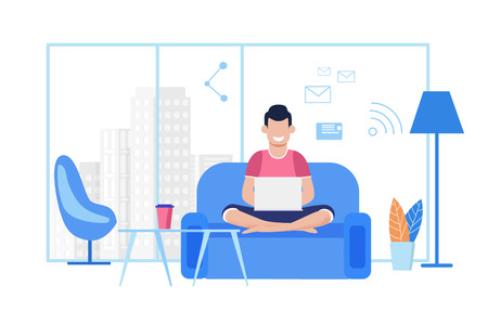 Young Cartoon Guy Works on Laptop at Comfortable Coworking Office or at Home. Freelancer Typing Message, Sending Email, Chatting Social Media Using Wi-Fi, Sitting on Sofa. Vector Flat Illustration