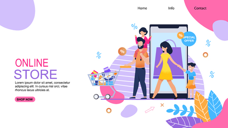 Online Store Landing Page. Flat Template Promote Big Sale, Great Discount, Special Offer. Vector Cartoon Happy Family Shopping. Father, Mother, Daughters Walk with Cart. Illustration with Smartphone