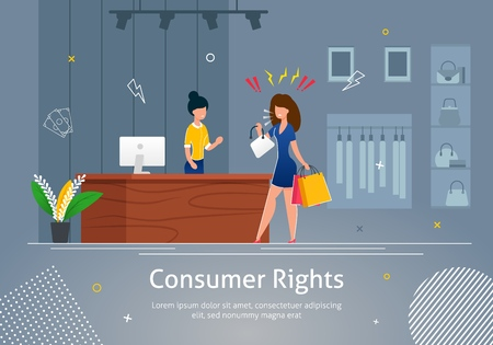 Verbraucherrechte-Banner-Vektor-Illustration. Wütender Kunde, der Einkaufstüten hält und den Verkäufer bei der Registrierung anschreit. Laden Sie das Interieur mit Kleidung auf Kleiderbügeln und Taschen in Regalen. Vektorgrafik