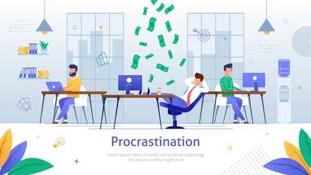 Procrastinating Businessmen Sitting with Legs on Office Desk Postponing Work Banner. Unprofitable Time Vector Illustration. Money Falling down on Man at Workplace. Colleagues Working. Illustration