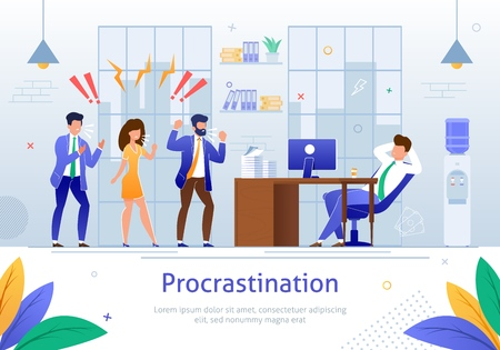 Worker Characters Screaming at Sleeping Worker Banner Vector Illustration. Cartoon Person Procrastinating at Workplace. Angry and Annoyed Businessmen at Work in Office. Relaxing Man. Illustration