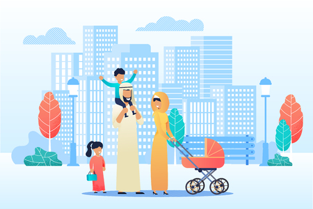 Happy Cartoon Arab Family Spend Time Together. Mother, Father and Diverse Preschool Children in National Clothes Strolling with Baby Carriage in Urban Park. Flat Vector Cityscape Illustration Illustration