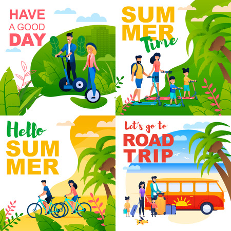 Cartoon Cards Set with Summer Motivate Quotes. Lets Go Road Trip, Summertime, Have Good Day, Hello Summer. Inspiration and Invitation for Family and Friends Vacation. Vector Flat Illustration