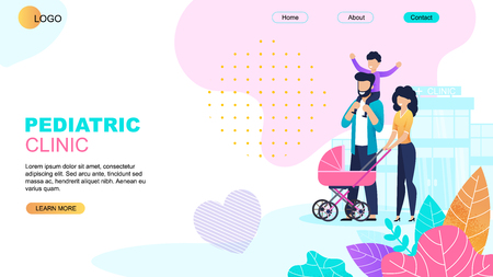 Pediatric Clinic Landing Page. Online Medical Support. Cartoon Parents with Preschool Children and Newborn in Pram. Family Going to Hospital for Visiting General Practitioner. Vector Flat Illustration