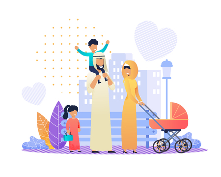 Happy Arabian Family in Traditional Wear on City Street. Flat Cartoon Father Riding Son on Shoulders, Mother Walking with Newborn in Stroller, Daughter Going with Bag in Hand. Vector Illustration