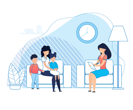 Mother with Kids on Psychologist Consultation Cartoon. Problem Solving between Parents and Children or Brother and Sister. Psychotherapy Support. Family Psychological Therapy. Vector lat Illustration