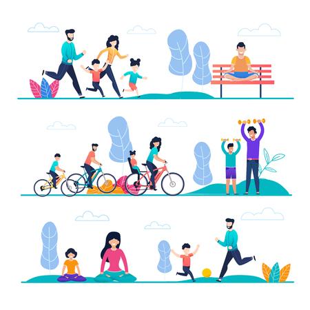 Familiensport und Outdoor-Aktivität flache Cartoon-Set. Mutter, Vater, Sohn, Tochter Joggen, Radfahren, Ballspielen, Hanteltraining, Meditieren oder Yoga-Übungen. Vektorillustration