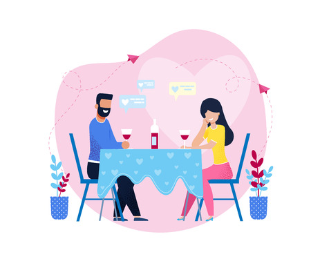Romantic Dinner with Wine in Restaurant or at Home. Cartoon Couple in Love, Lovers, Man and Woman, Wife and Husband, Girlfriend and Boyfriend Sitting in Cafe. Dating Vector Flat Illustration Banco de Imagens - 124615831