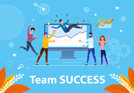 Flat Banner Team Success Vector Illustration. Successful Completion Project at Work. Thoughtful Management and Support Team Leads to Success Company. Men on Background Monitor Rejoice.