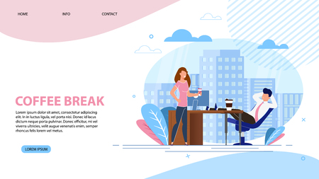 Vector Illustration Coffee Break Landing Page. Man and Woman are Resting in Office During Coffee Break. Girl Standing Near Table Colleagues in Office. Working Area and Aromatherapy. Vetores