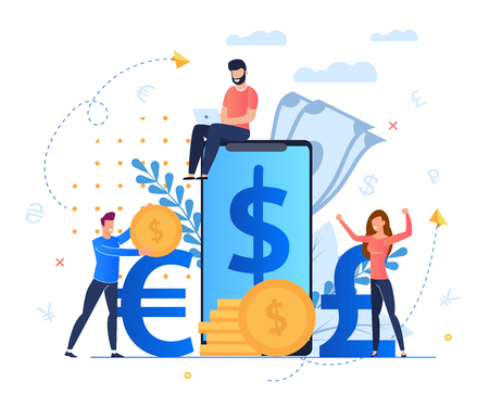 Profit from Currency Exchange Services Cartoon. Man Sits on Screen Large Smartphone. Mobile Application for Profitable and Convenient Exchange Currency Currencies. People Rejoice in Money. Illusztráció