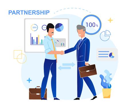 Illustration vectorielle Lettrage de partenariat écrit. Les hommes d'affaires concluent un accord de partenariat. Les hommes se saluent avec la poignée de main. Réunion d'entreprise au bureau. Discussion avec les dirigeants de la communauté. Vecteurs