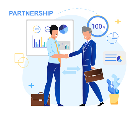 Vector Illustration Written Partnership Lettering. Businessmen Make  Partnership Deal. Men Greet Each Other with Handshake. Corporate Meeting in Office. Community Leader Discussion.