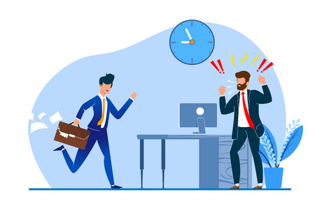 Vector Illustration Constant Late Arrival Flat. Chief Enraged Watching  Behavior Subordinate. Man Suit is Angry with Colleague for Failure to Meet Deadlines. Modern Worker Management.