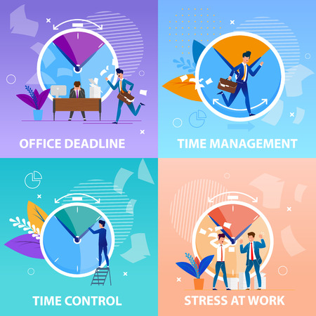Set Office Deadlineand Time Management Control. Banner Flat is Written Stress at Control. Positive and Negative Aspects Meeting Deadlines in  Work Process. Vector Illustration Landing Page.