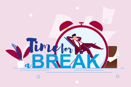 Vector Illustration Inscription Time for Break. Foreground is Large Inscription, Against Background Large Clock and Sleeping Man. Man in Suit is Resting on Hands Large Clock Face Cartoon.
